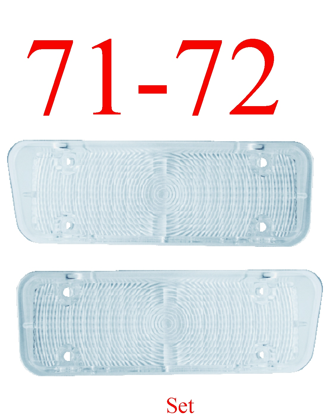 71-72 Chevy 2Pc Clear Parking Light Set L&R
